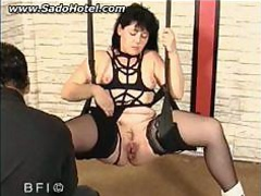 tied slave with her legs spread is banged with a large WWW.ONSEXO.COM