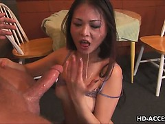 Asian babe in deep throat blowjob
