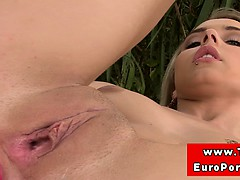 Teen Blonde Stimulates Ass And Pussy