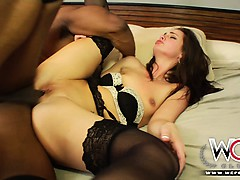 Bored by her boyfriend and fucked by a black stud