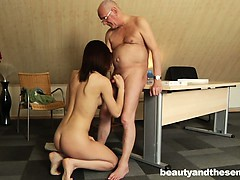 Brunette Teen Babe Gets Fucked By An Old Dude