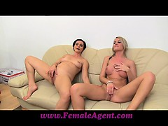 femaleagent-milf-masturbates-with-lucky-girls-on-the-couch
