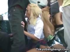 White Teens Suck In Tokyo Bus!
