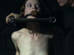 bondage-sub-electric-play-while-on-dildo-machine
