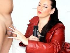kinkydomina-red-leather-jacket-handjob-tease