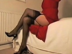 Teasing Her Stockings And Panties
