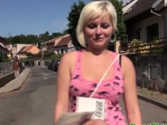 Euro girlnextdoor jizzed on in public
