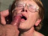 Ugly granny takes sticky facial