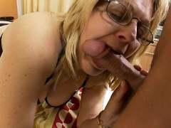 Sexy Grandmother that loves nascar does her first porn movie