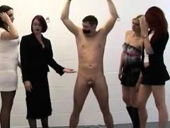 bound guy gets handjob from naughty cfnm women