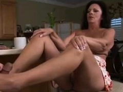 Chubby Cougar Unload Him With Her Feet