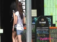 Exhibitionist Teenager In A Public Pub