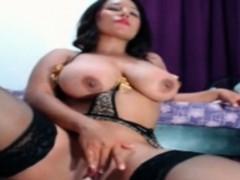 curvy brunette rides dildo showin her monster butt