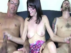 busty-cougar-wanking-off-two-hard-cocks