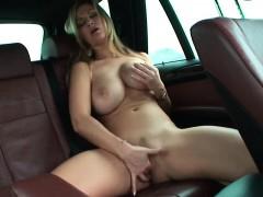 Hot busty milf fingering on taxi webcam