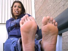 Fat Latina Shows Her Soles Outdoors