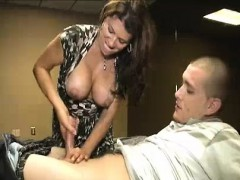 milf has been noticing step-son looking at her Handjob