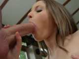 Cute brunette sucks dick and takes a cumshot in her ass