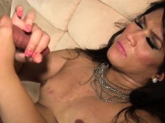 Assfucked Asian Tgirl Wanks Guy Onto Her Tits