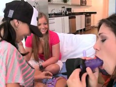 four girls play with sex toys