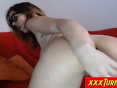 Mature Nerd Fucking Her Asshole With Vibrator