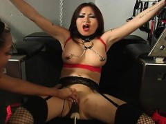 busty brunette getting her wet cunt machine banged sexy