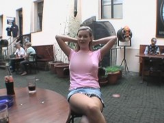 Blonde Amateur Beauty Flashing Pussy In Public Diner