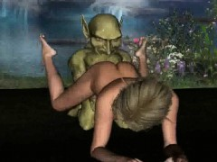 3d elf babe getting penetrated in the woods by a goblin