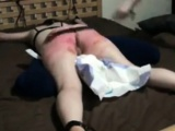 Hard flogging my diaper slave June