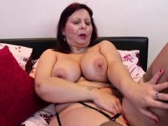 big titted mature lady masturbating in stockings