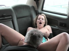 massive boobs amateur passenger gets fucked in the backseat