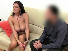 Hot Brunette Shows Her Body To An Agent