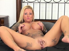 britney shannon spreads her body across the bed and pleases herself