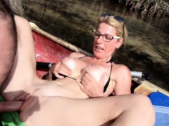 stacked blonde amateur has a horny old guy humping her puss
