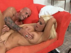 stacked blonde cougar gets her tight peach drilled deep on the couch