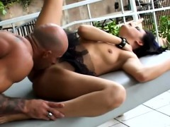 naughty brunette with kinky long legs fervorously bounces on a huge cock sexy