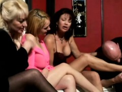 Hunky Grandpa Gets Surrounded By Five Sexy Ladies With Big Tits