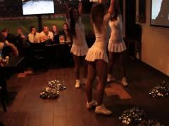 Hot cheerleaders in tiny white outfits entertain bar custom