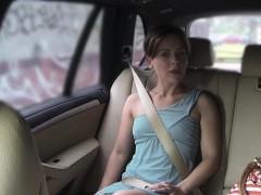 Blonde Doing Selfie On Boner In Faux Taxi