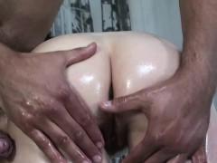 Oiled Tatiana Kush gets to experience doggy shagging
