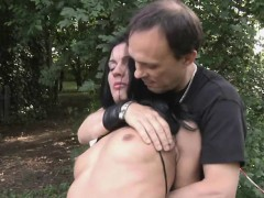 hurt and humiliated slave endures outdoor hardcore fuck