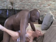 blonde hot slut gets her vagina fucked by black man