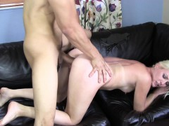 Sensuous Blonde With A Marvelous Ass Takes A Hard Fucking On The Couch