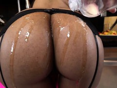Ebony Bombshell Brittney White Gets Her Body Oiled Up