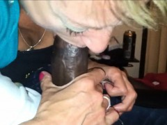 Mature Beauty Blowing A Black Shaft