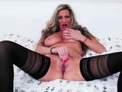 Big titted European mature pleasures herself