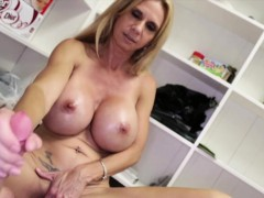 bigtitted-stepmom-giving-doublehanded-handjob