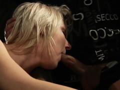 blonde woman in bondage hard banging and blowing