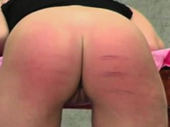 blonde woman gets a tough spanking