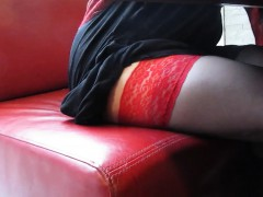 dark tights with red-tops upskirt in restoraunt